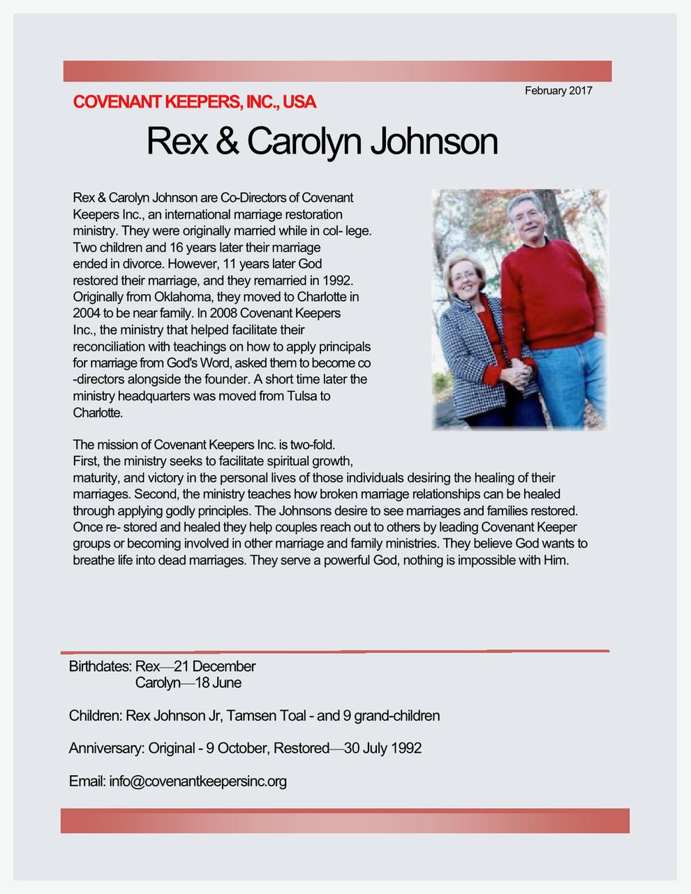 Rex and Carolyn Johnson