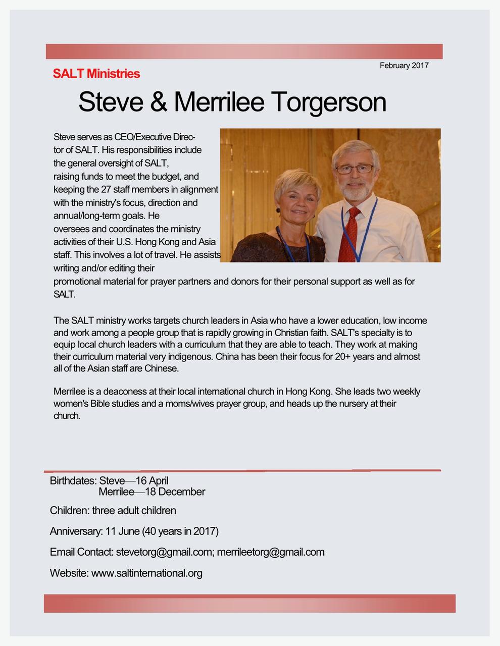 Steve and Merrilee Torgensen