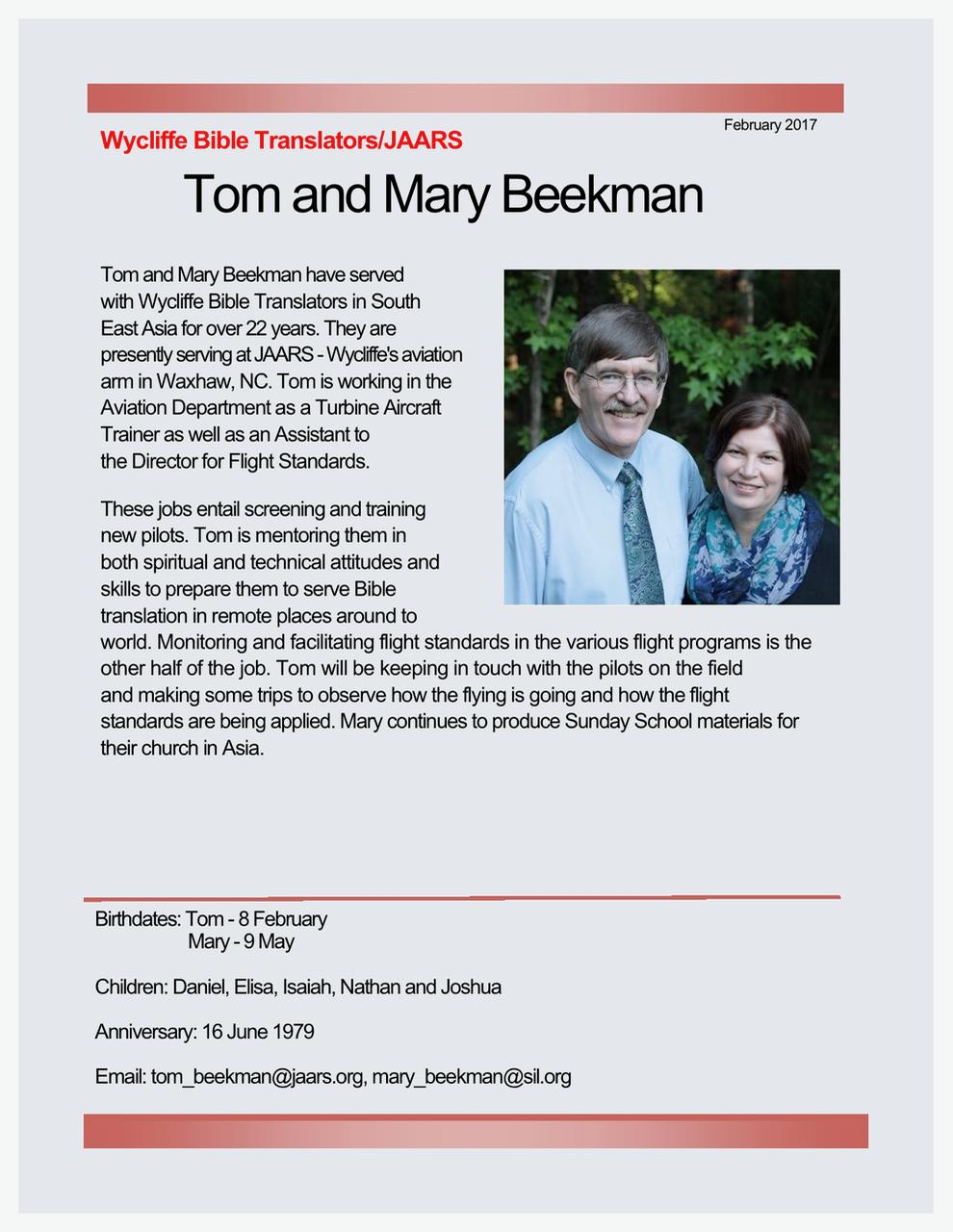 Tom and Mary Beekman
