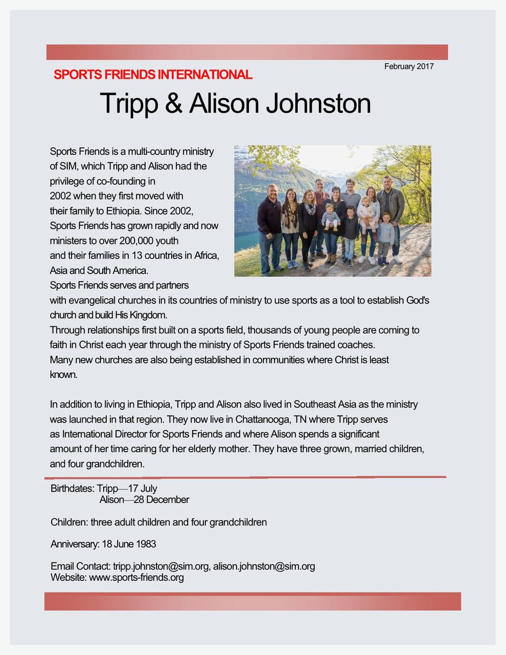 Tripp and Alison Johnston