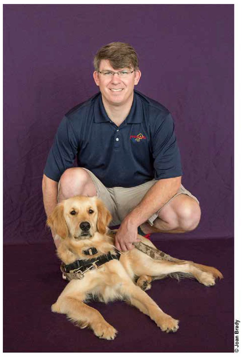 "- Jeff served 2 combat tours in Iraq with the 2/3 ACR in 2003 and 2005. He was medically retired from the Army with severe Complex Post Traumatic Stress. By 2009, he was desperate to find relief and began training with paws4vets. Because of the support of paws4vets and his Assistance Dog, AUSTIN, Jeff is now a Peer Mentor with paws4vets helping other veterans learn how to use their dog to help with their symptoms. He and AUSTIN also speak to groups about the mission of paws4vets and the value of Assistance Dogs to make a difference in the lives of those who have served. AUSTIN is Jeff's second paws4vets Assistance Dog. His firstdog, TAZIE, is enjoying her retirement and seems happy to let AUSTIN take over as Jeff's partner. Jeff says that ""AUSTIN is amazing, whenever I look at him he always seems to be smiling. He is my light in darkness and is able to guide me to a better frame of mind."