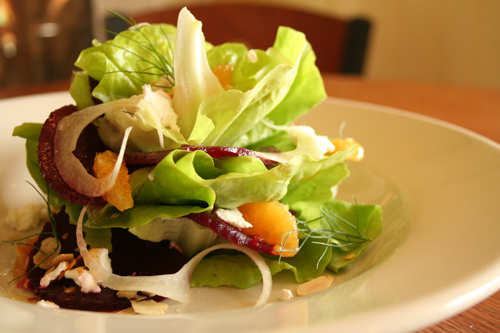 - Bibb Lettuce Salad with Roasted Beets, Orange, Shaved Fennel, Goat Cheese, Toasted Almonds, and Citrus Vinaigrette