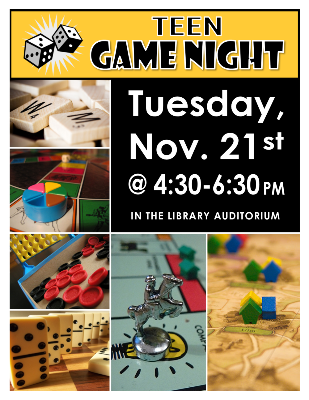 Join us in the Library Auditorium for some classic gaming, including board, card, dice & more! Feel free to bring your own games to share and play!