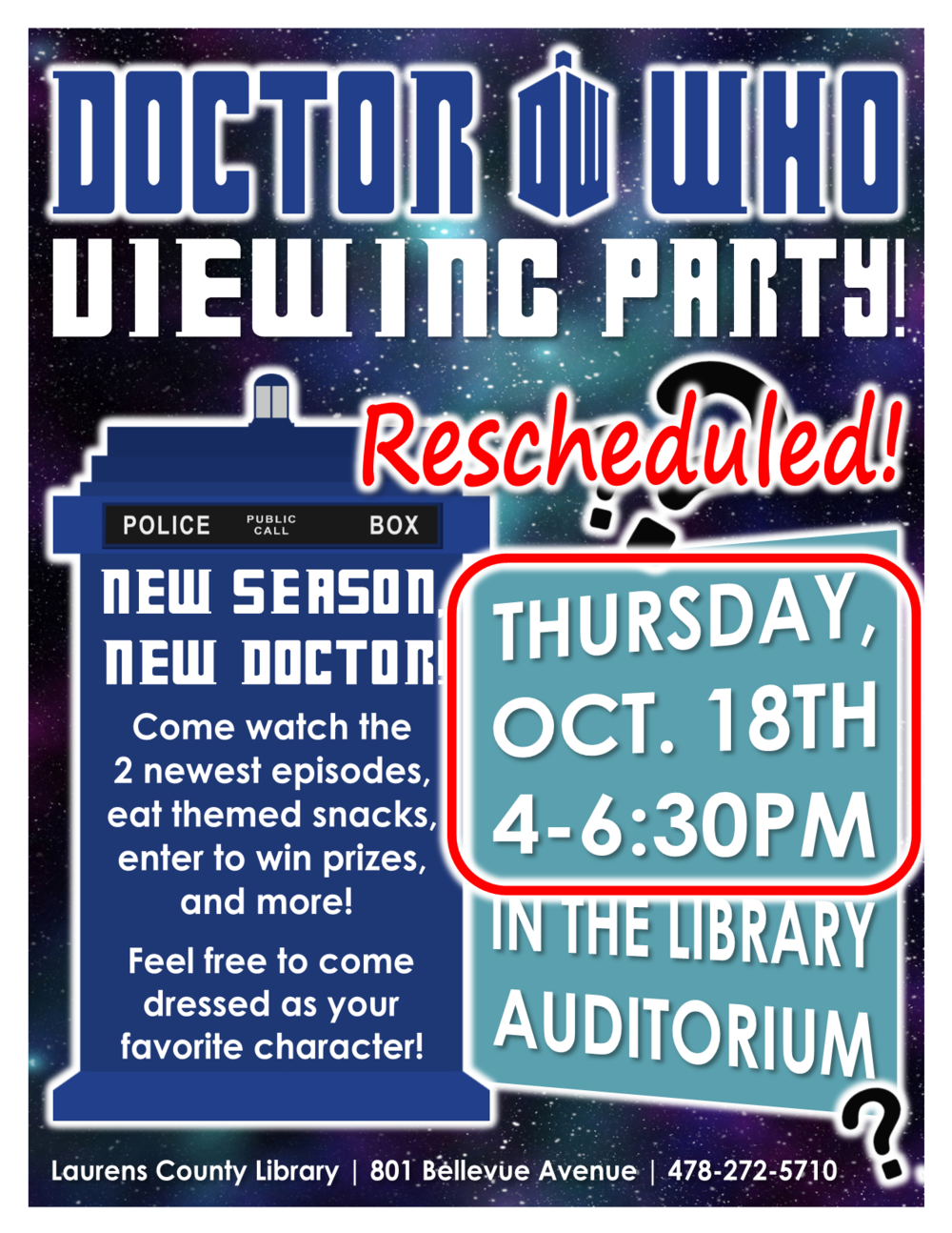 Due to inclement weather, this program has been rescheduled for Thursday, Oct. 18th.