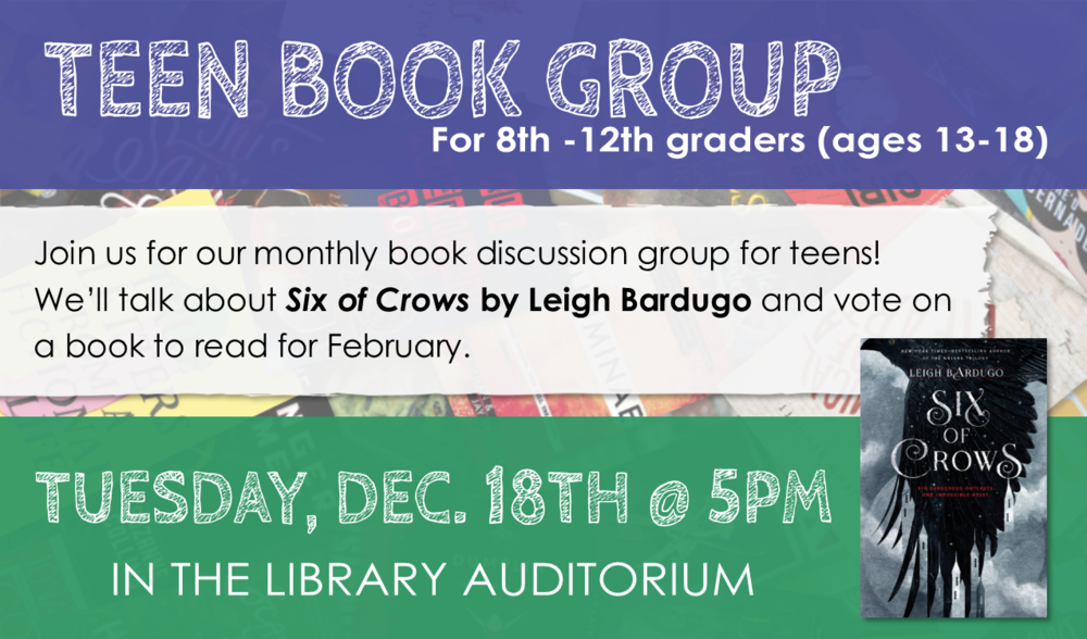 Link in PINES catalog:   Six of Crows  by Leigh Bardugo .  In January, we will be discussing   Seraphina  by Rachel Hartman .