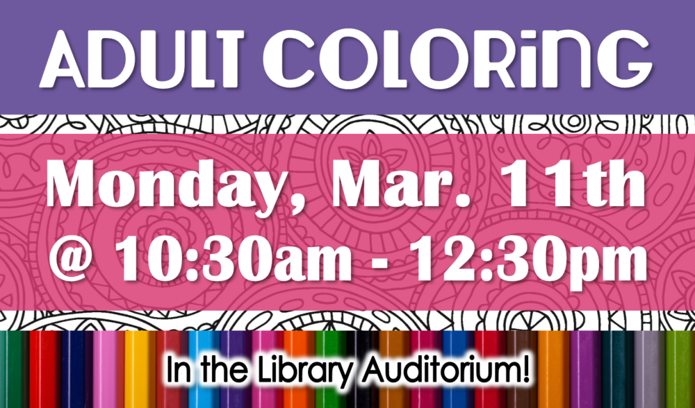 Take a break, relax and color. Coffee will be served!