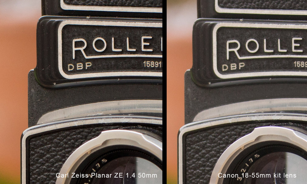 Rolliecord closeup comparison