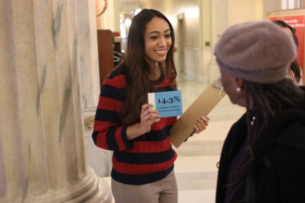 Jasmine Turner '16 during the Interfaith Poverty Vigil at the RI State House - RI Coalition for the Homeless Internship