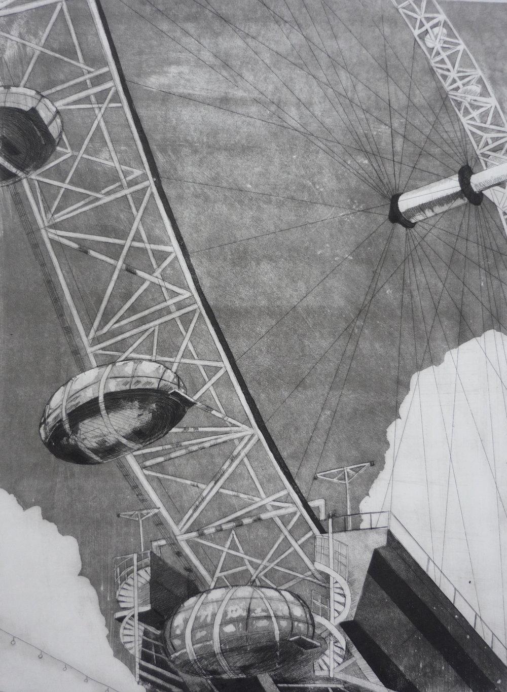 London Eye etching