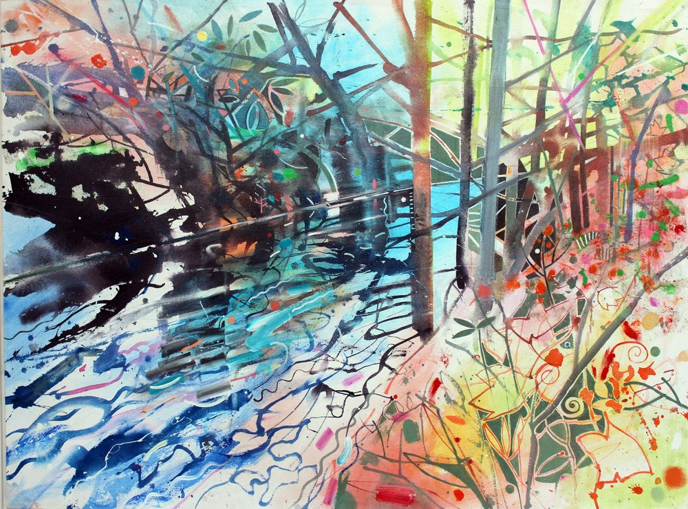 River Brent Autumn Light. Acrylic on canvas. 2017..