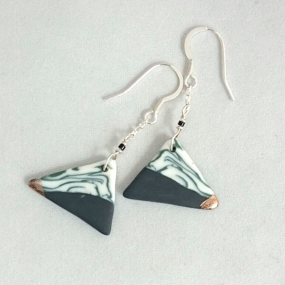 Triangular Porcelain earrings