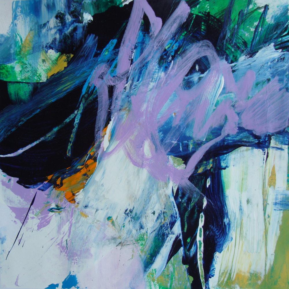 Tracy Burgess - PURPLE SCRIBBLE - 40 x 40 cm - (2017) Acrylic on Paper