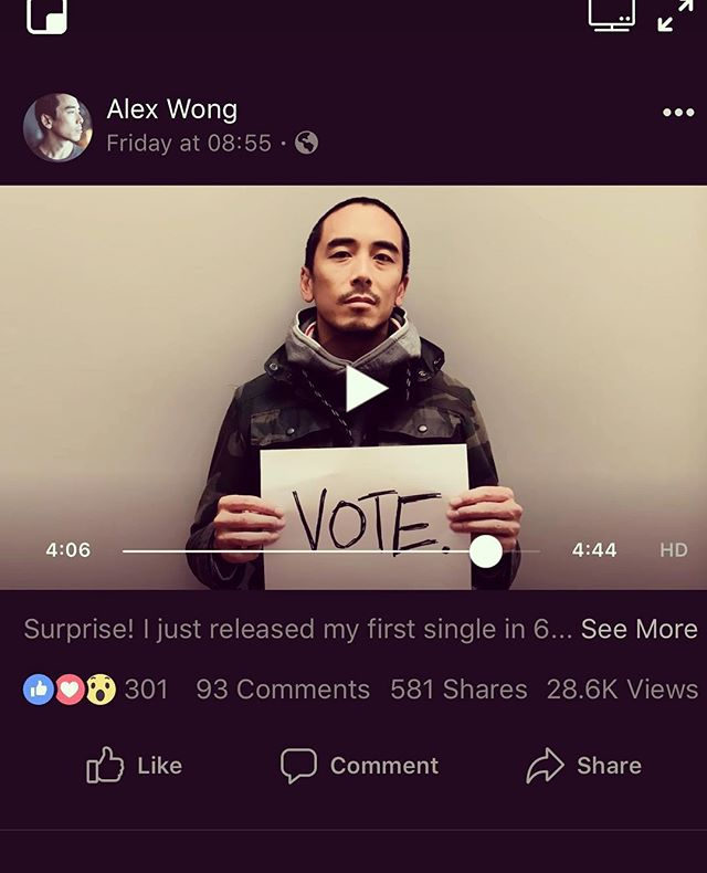 """Dang y'all... thank u so much for viewing """"The Quiet Voice"""" video 30k times since Friday. Don't let that incredible momentum stop at your screen. Get your ass to the polls. If you have time, volunteer to drive people in your neighborhood to their polling place. Help make sure people know their CORRECT polling place (number one tool in the voter suppression playbook is misinformation about polling sites). Bring donuts to those waiting in line. You are powerful, your actions are powerful, your voice is powerful. Go get em."""