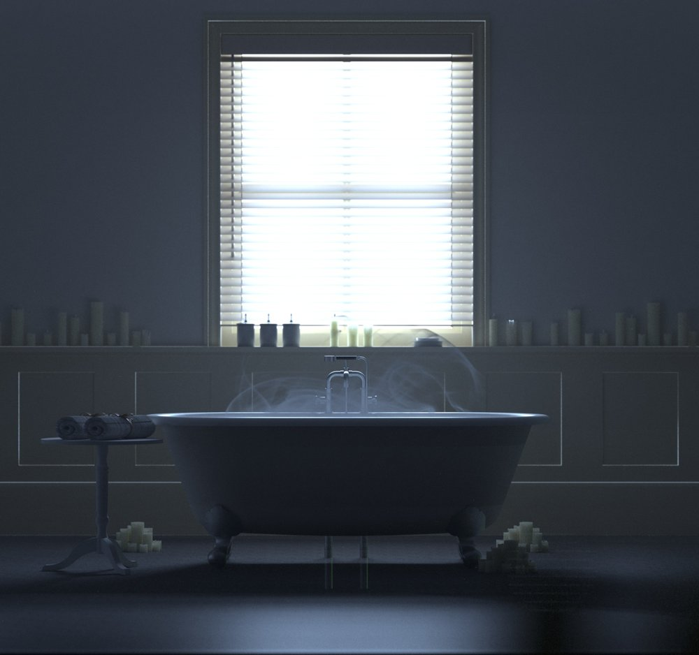 Atmospheric bathroom scene modeled in Sketchup and rendered with Indigo. Bath model credit: KQD