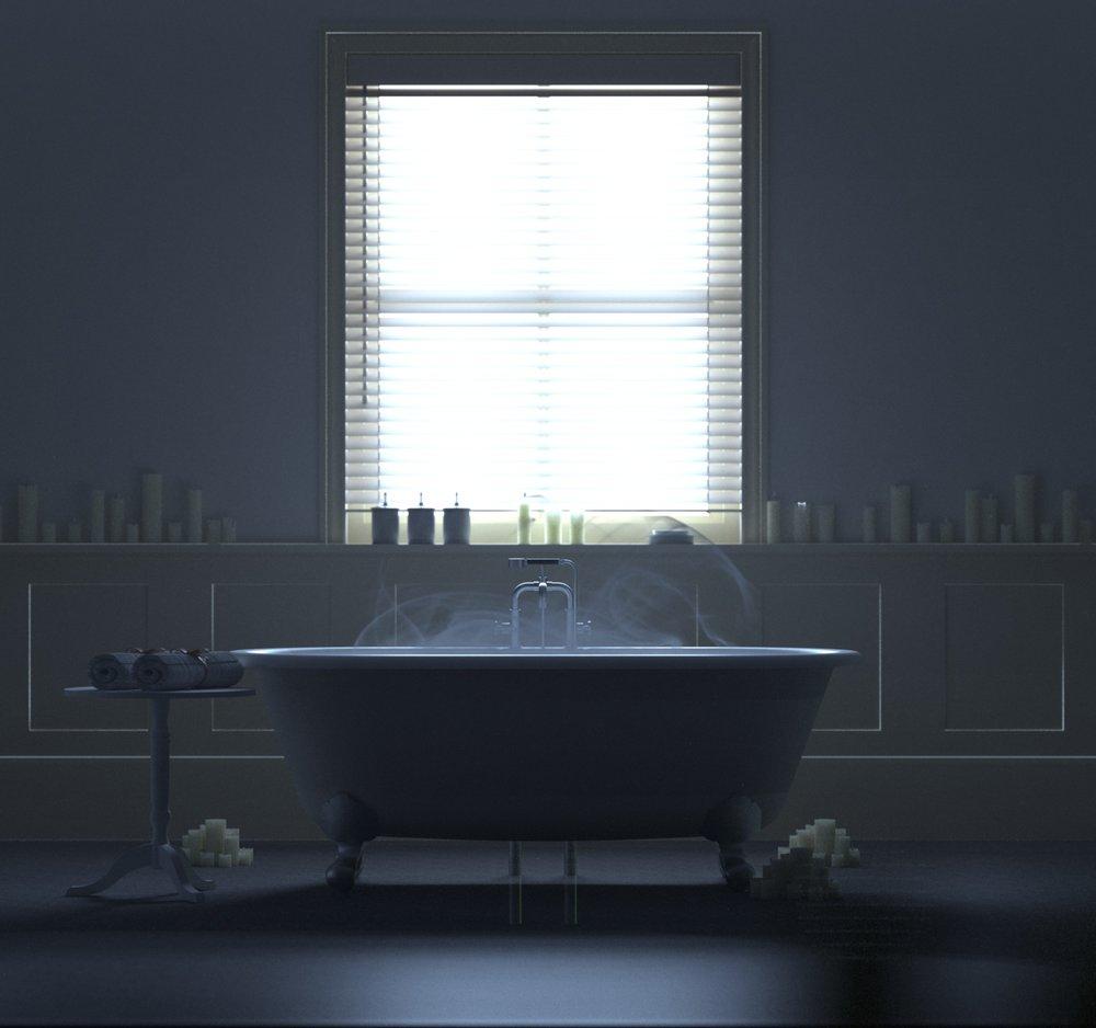 Atmospheric bathroom scene modeled in Sketchup and rendered with Indigo. Bath model credit:  KQD