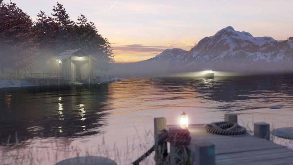 Scandinavian style landscape with boathouse and jetty. All modeled and rendered in Blender.