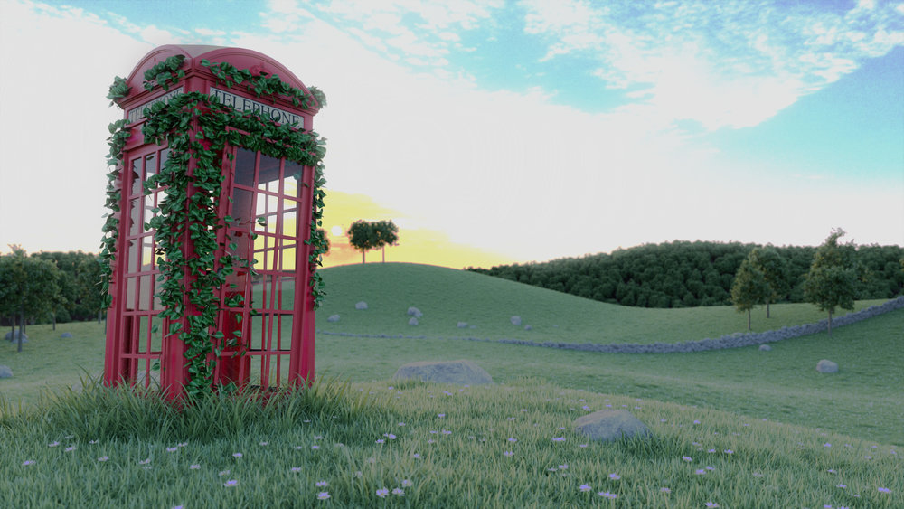 Landscape modeled in Sketchup, rendered in Indigo. Experimenting with grass and tree scattering effects with the Skatter extension as well as HDR lighting. Phone-box model credit:  calamity_si