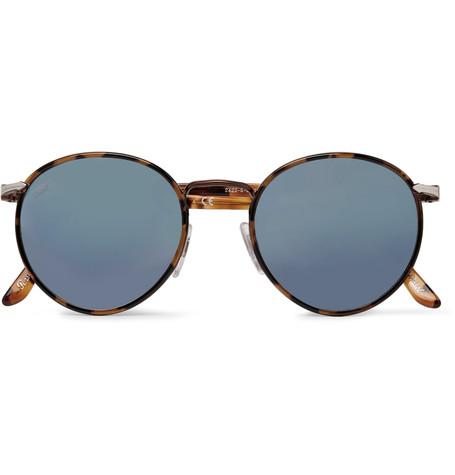 PERSOL   Round-Frame Tortoiseshell Acetate Mirrored Sunglasses  £155
