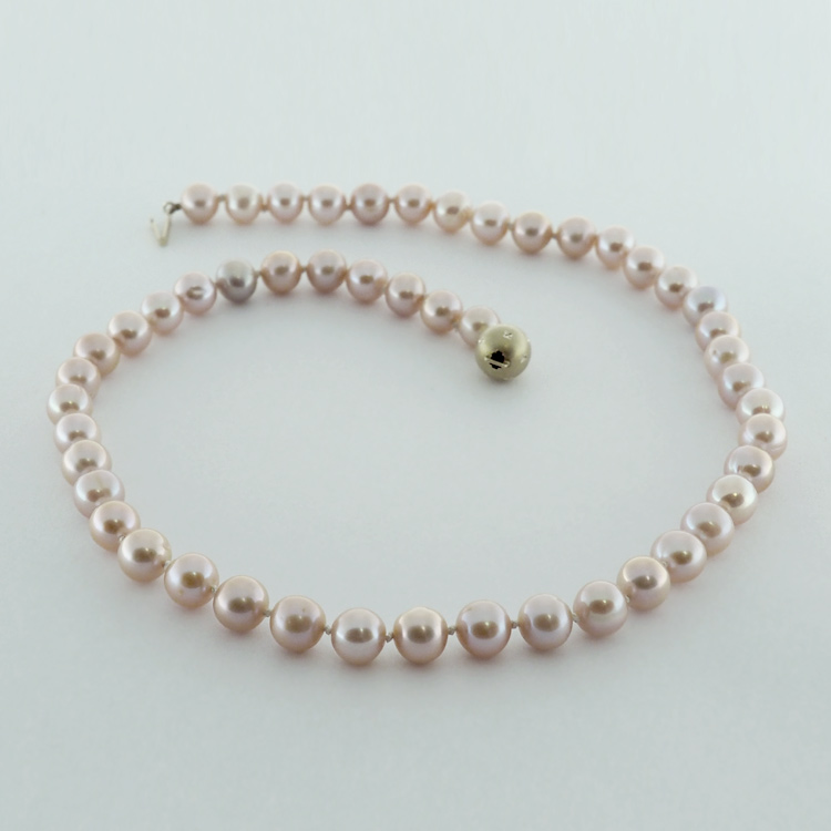 <b>Flushed Pink</b><br>$785<br>Natural Round, Pink<br>Fresh Water Pearls<br>8-8.5mm