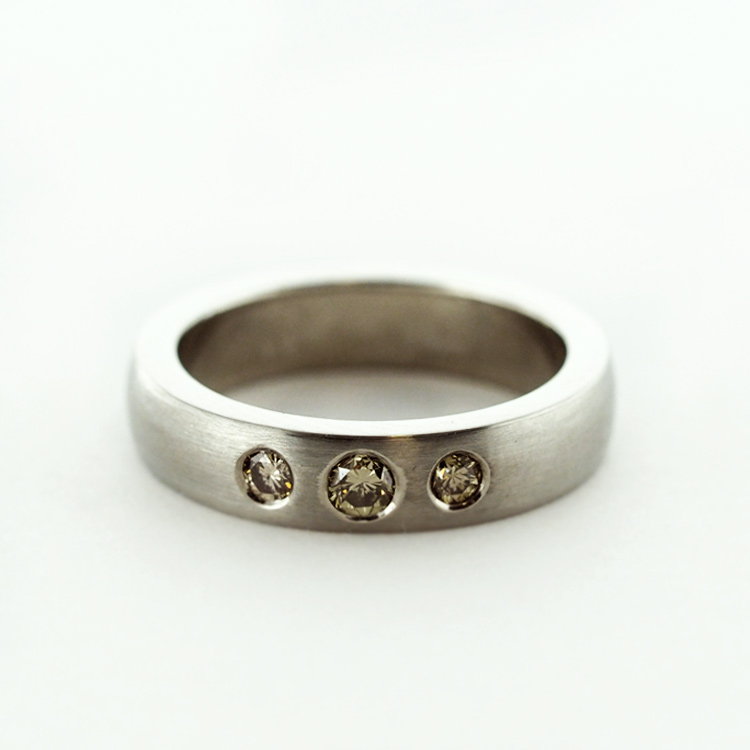 SOLD, special order available<br>19K White Gold,<Br> 3 Natural Yellow<br> Round Diamonds