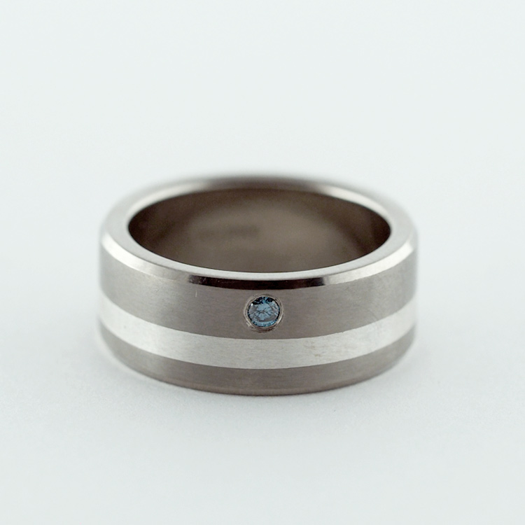 $320<Br>Titanium and Silver<Br> with Blue Diamond
