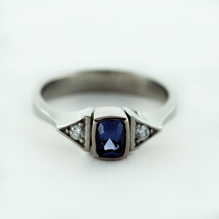 $2,869<br>19K White Gold,<br> Blue Spinel of 0.55 ct,<br> 2 Brilliant Cut<br> Diamonds