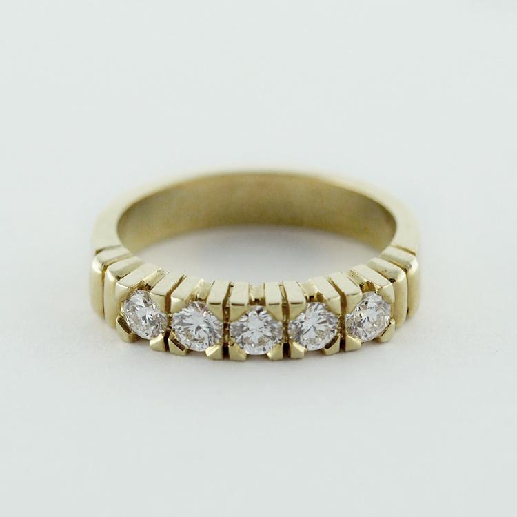 $2,677<br>18K Yellow Gold,<br> 5 Brilliant Cut<br> Diamonds