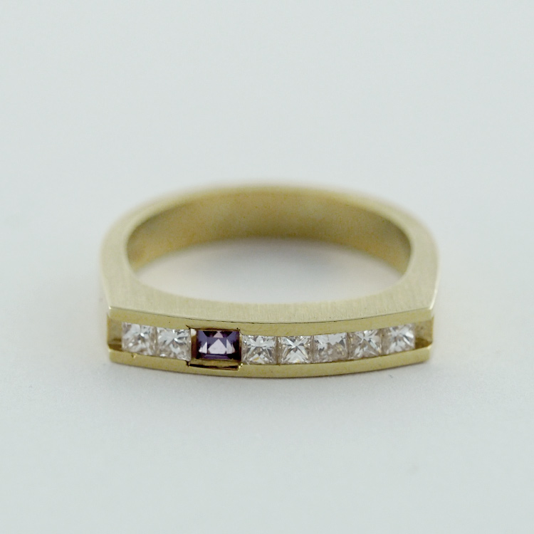 $2,833<br>18K Yellow Gold, <br>7 Princess Cut <br>Diamonds, Chatham- <br>Alexandrite