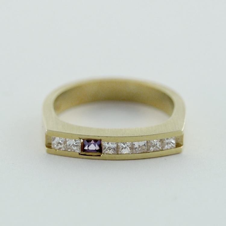 $2,833<br>18K Yellow Gold, <br>7 Princess Cut <br>Diamonds, Chatham- <br>Alexandrite