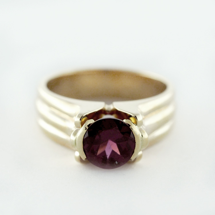 """reg.RT: $2,150 LT Promotion: $1,400/<br>14K Yellow Gold, <br>Limited Edition 1/99<br> """"Tulip Classic II"""", <br>Round Red Garnet"""