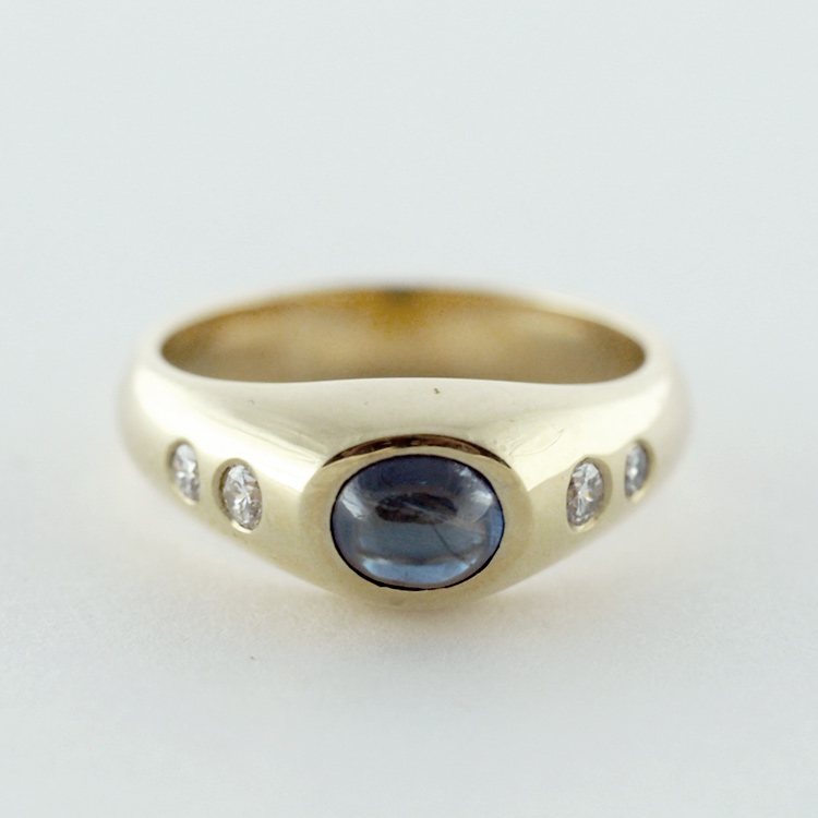 $2,242<br>14K Yellow Gold,<br> Blue Sapphire, <br>4 Brilliant Cut <br>Diamonds