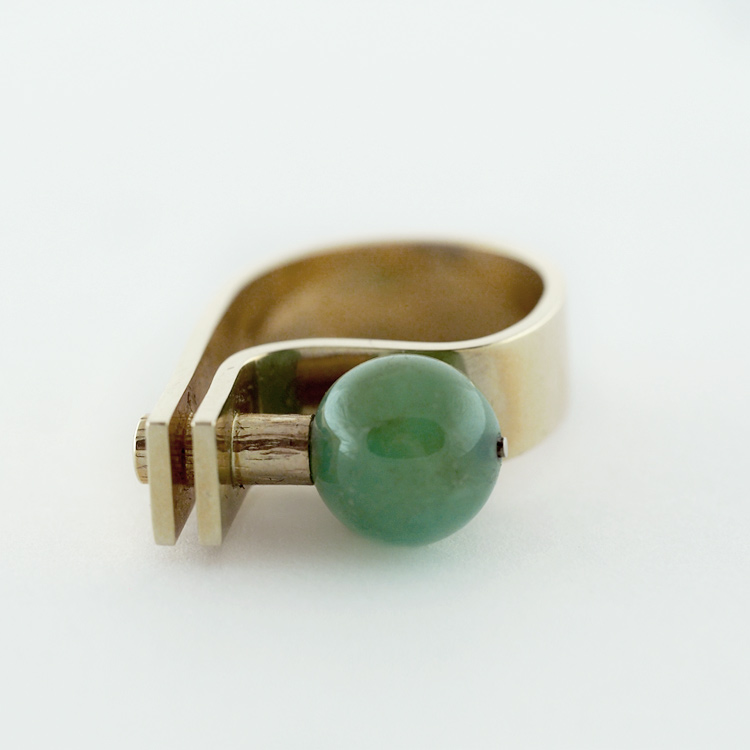 $1,894<br>14K Yellow Gold,<br> Chrysoprase, <br>1 brilliant cut Diamond<br>Available as Set of 3 Items