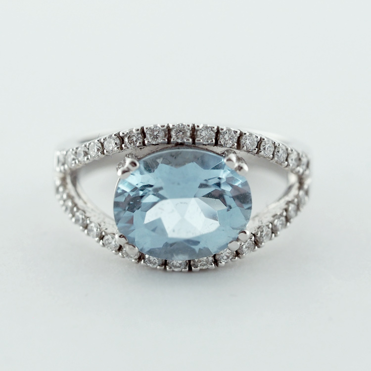 SOLD<br>18K White Gold, <br>Aquamarine, <br>Diamonds TW 0.43 ct