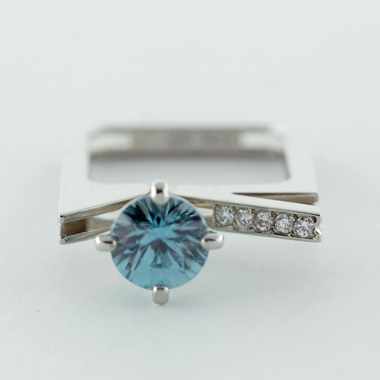 SOLD<Br>19K White Gold, <br>Blue Zircon, <br> 5 Brilliant Cut <br>Diamonds