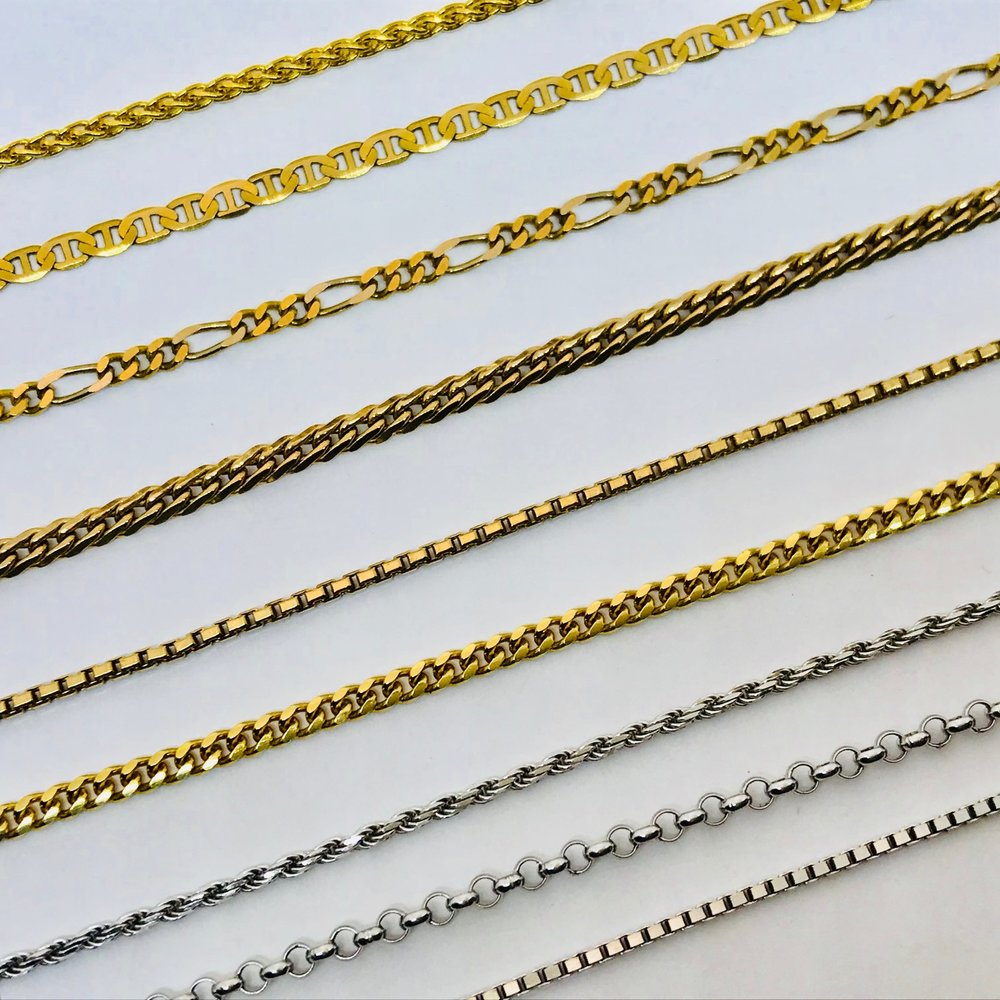 CHAINS <br><b>many different Designs</b><br>Yellow & White Gold, Platinum<br>14 and 18 Karat<br>In Stock and special Orders <br>