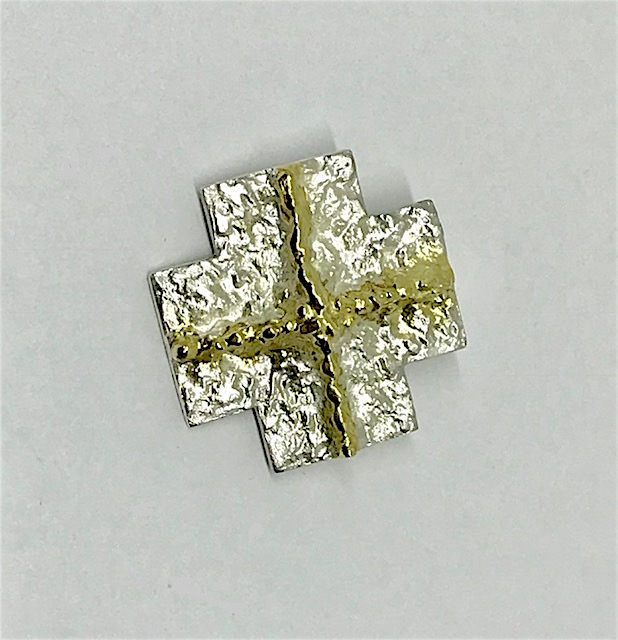 <b>Sterling Silver Cross</b><br>$475<br>fused with 18K Yellow Gold