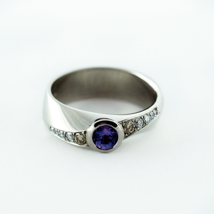 $2,755<Br>19K White Gold, <br>Purple Sapphire,<br> 2 Yellow Diamonds, <br>8 White Brilliant <br>Cut Diamonds