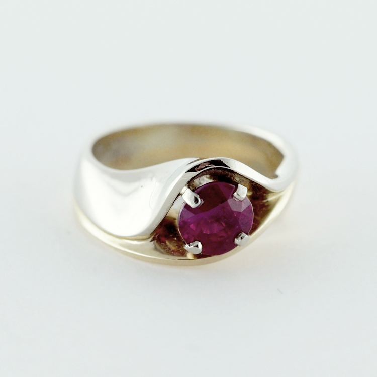 "$10,725 net<Br>19K White Gold,<Br>14K Yellow Gold,<bR> Limited Edition 31/99 <Br>""Flower III"", <br>Large Oval Ruby 1.47 ct"