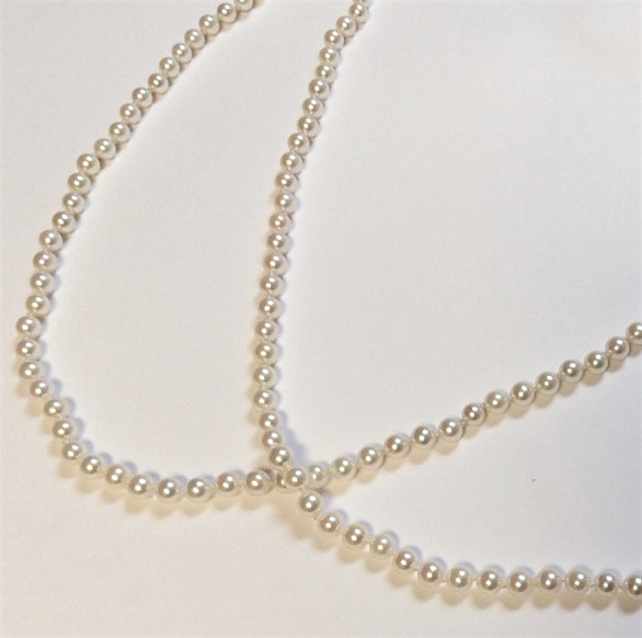 <b>Cultured</b><Br>$2,000<Br>Rd. Cultured Salt Water Pearls <Br>Double Length<br>4-4.5mm