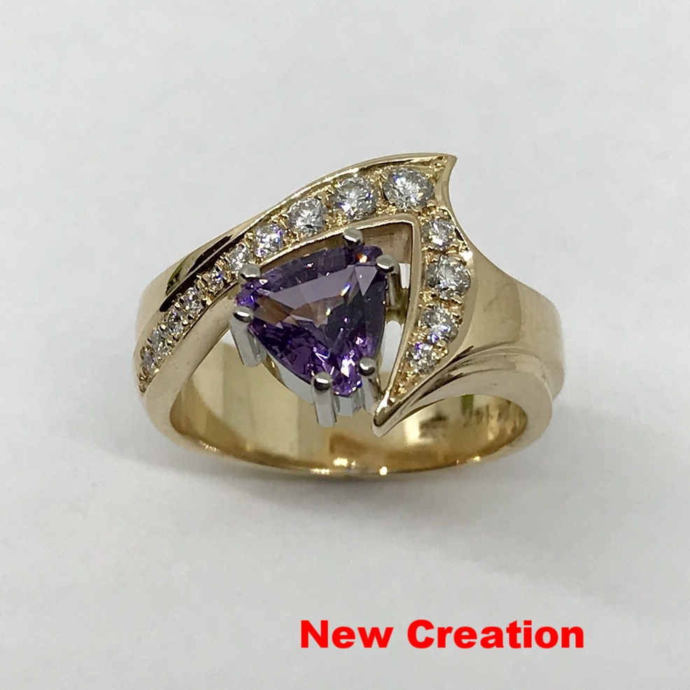 purple Spinel & Diamond Ring