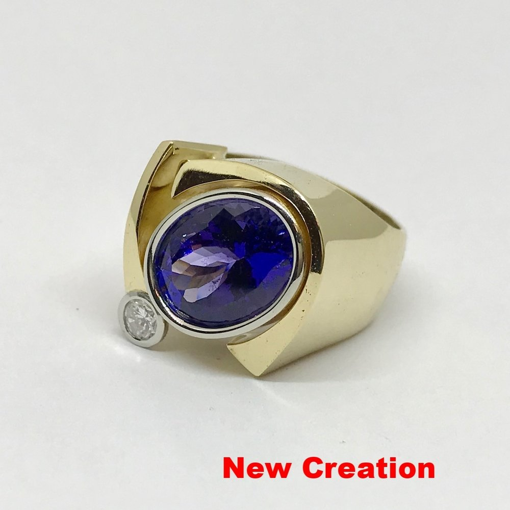 NEW CREATION<br>18K Yellow and 19K White Gold<br>Finest Quality Tanzanite<Br> 5.95 ct,<Br> Brilliant Cut Diamond <br> natural faint pink hue 0.19ct
