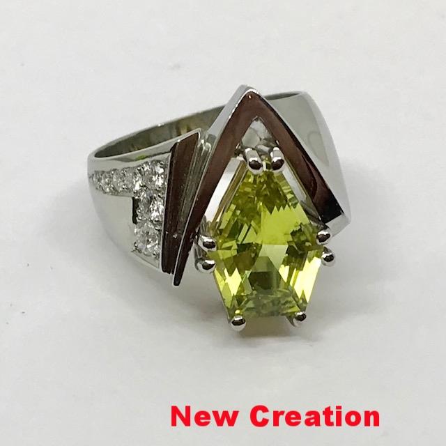 Ladies Chrysoberyl and Diamond Ring
