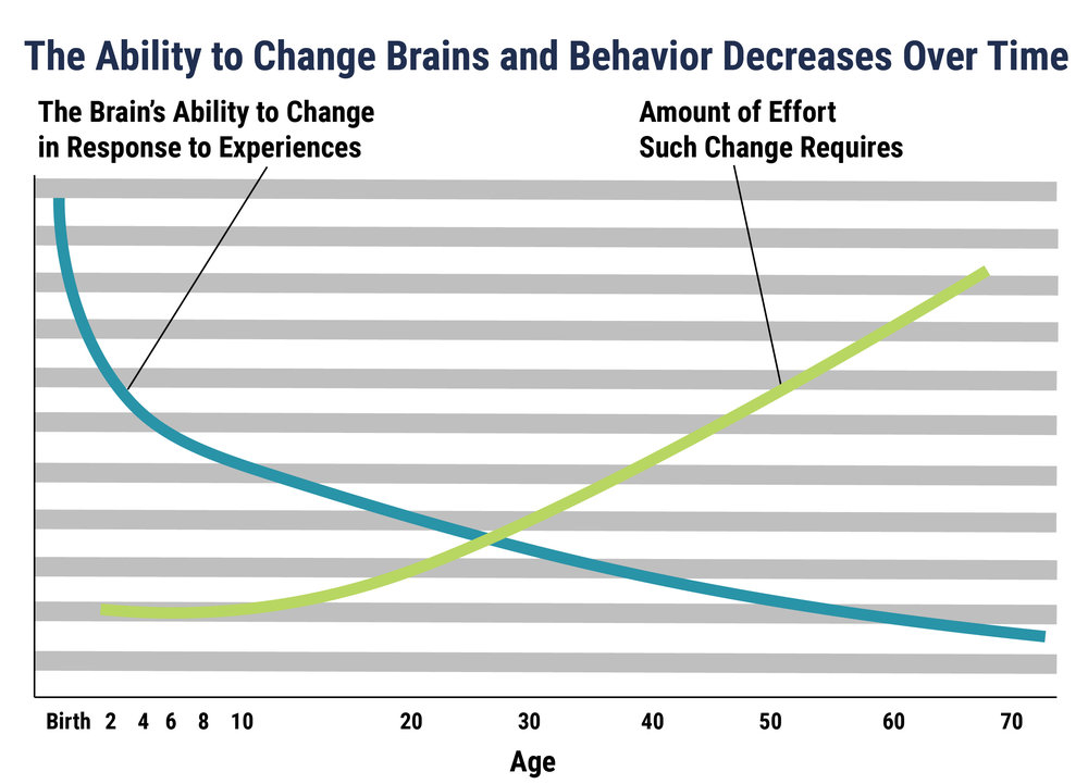 "It is easier and less costly to form strong brain circuits during the early years than it is to intervene or ""fix"" them later. Graph Source: Pat Levitt (2009)."