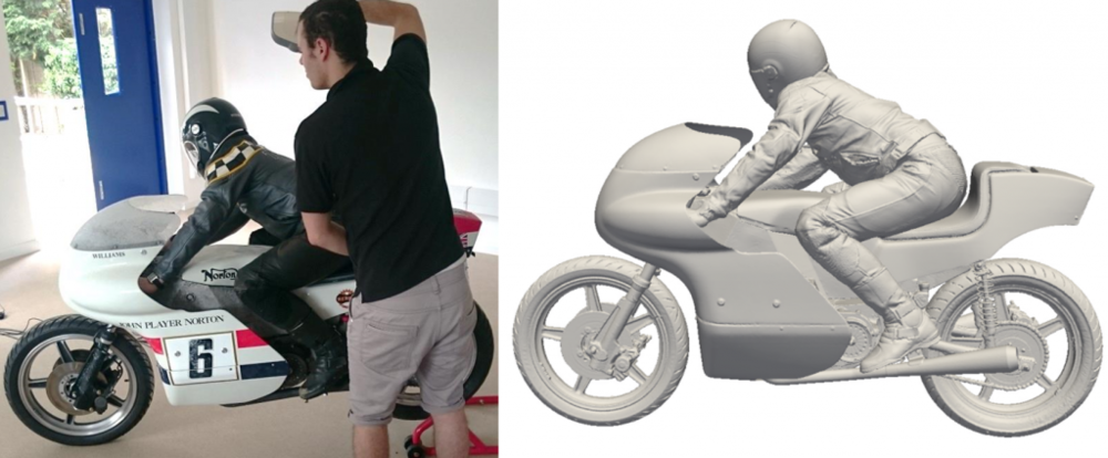 scanning motorcycle and resultant 3D geometry