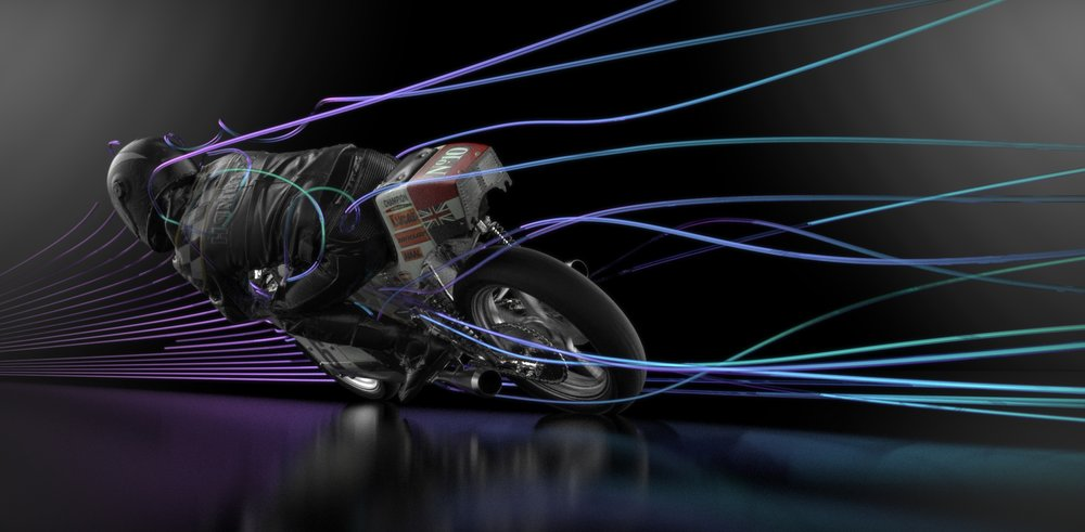 Motorcycle model created by reverse engineered from scanning showing CFD High Quality rendered results