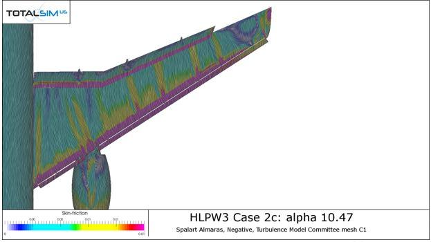 OpenFOAM run for JAXA Wing at 10.47 degrees -