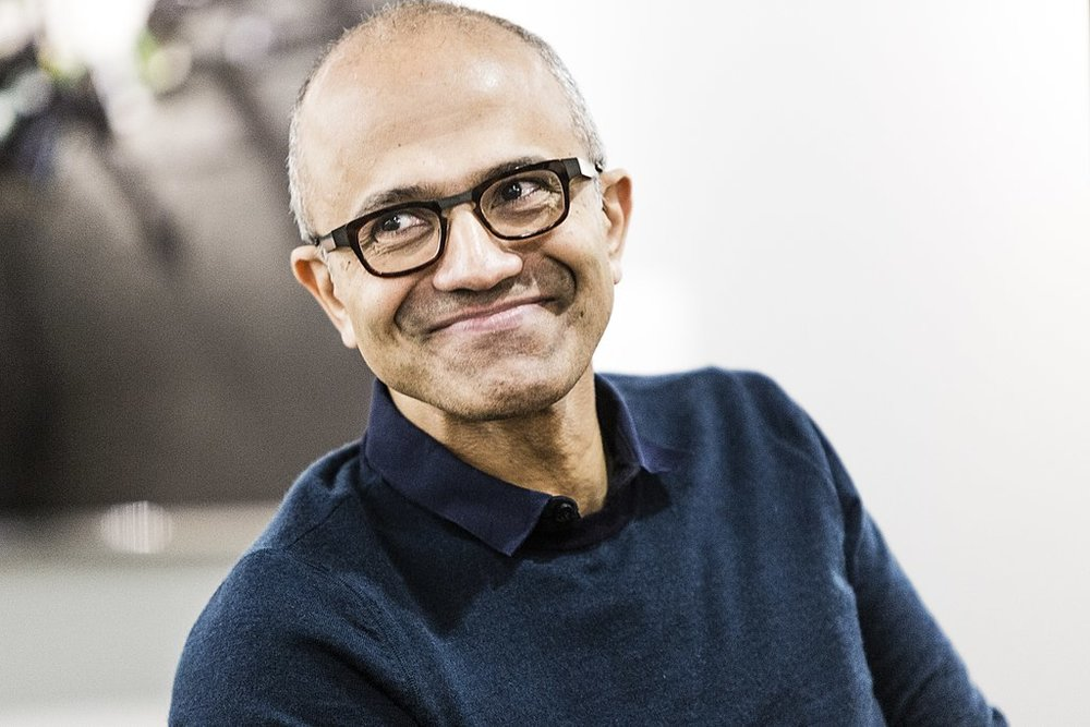 Photo by Brian Smale and Microsoft (Satya Nadella Microsoft leadership profile page) [CC BY-SA 4.0 (https://creativecommons.org/licenses/by-sa/4.0)], via Wikimedia Commons