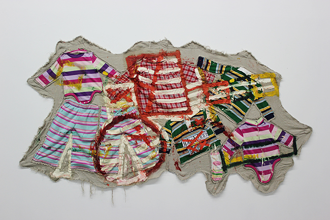 Mike Cloud,  Geometric Quilt , Oil and linen on children's clothing, 2007