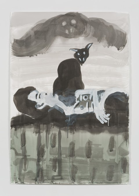 "MAIA CRUZ PALILEO: Sleeping Topless Ghost, ink and gouache on paper, 30 x 24"" 2015 (image courtesy Taymour Grahne Gallery)"
