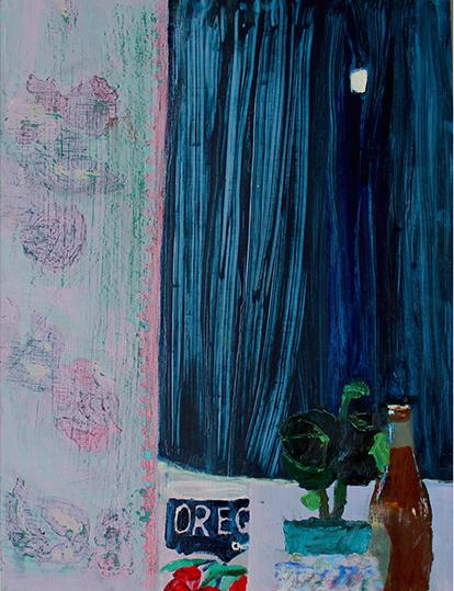 """AUBREY LEVINTHAL: Velvet Moon, oil on canvas, 22"""" x 18"""""""